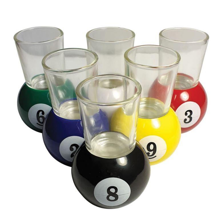 Bar Bespoke 6 Pool Shot Glasses & Rack Tray