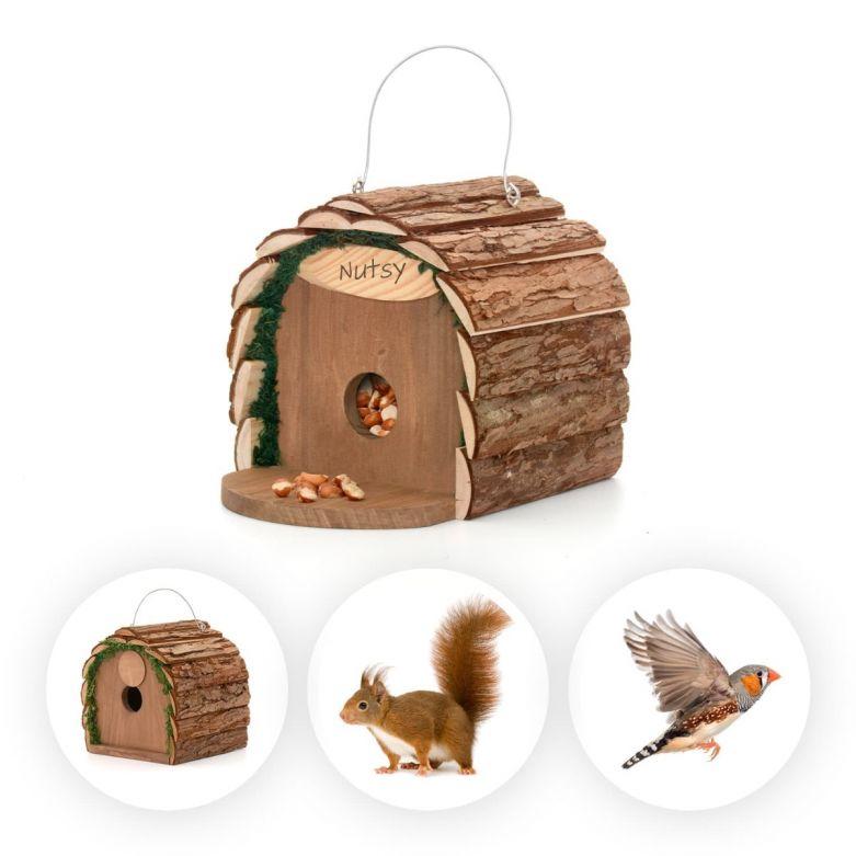 Wooden Squirrel Feeder or Bird Nesting House