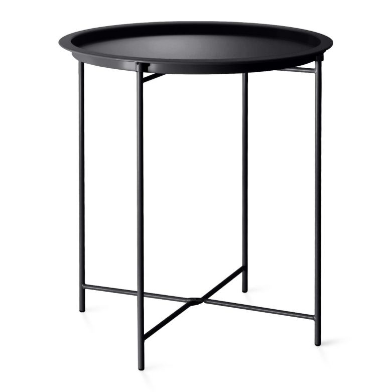 Black Foldable Steel Outdoor Bistro Table with Removable Tray