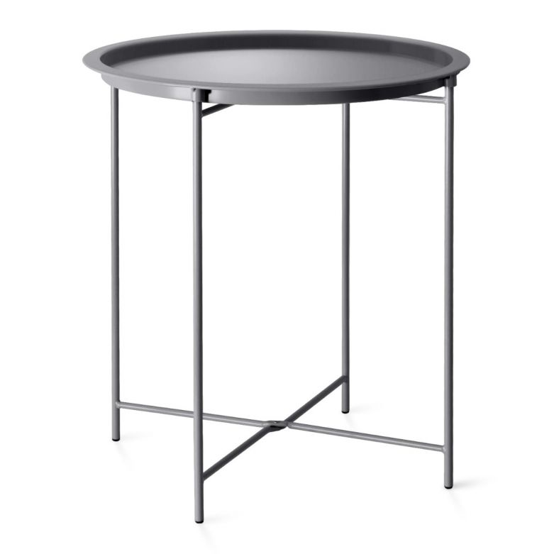 Charcoal Foldable Steel Outdoor Bistro Table with Removable Tray