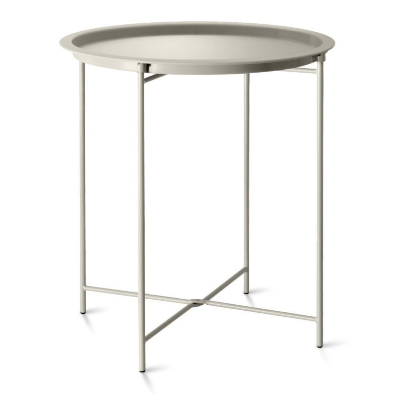 Clay Foldable Steel Outdoor Bistro Table with Removable Tray