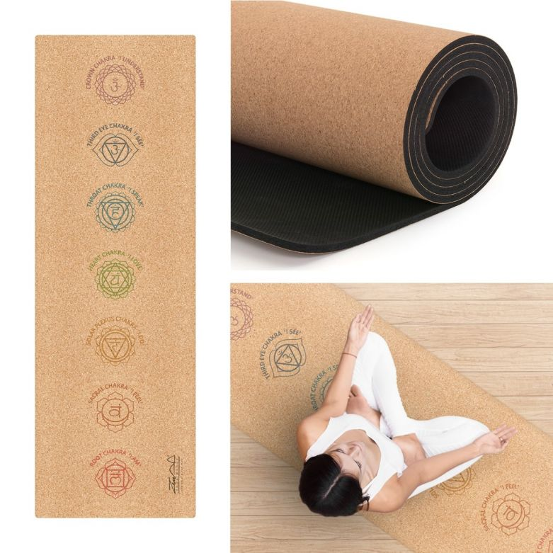 Cork Yoga Chakra Mat with Carry Strap