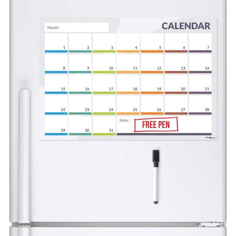 31 Day / 1 Month Planner & Dry Wipe Pen (A3 Magnetic Fridge Board)