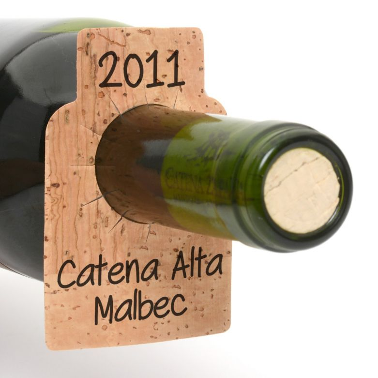 Bar Amigos Cork Wine Tag on a Bottle of Catena Alta Malbec