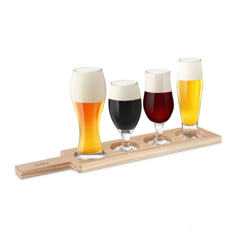 Set of 4 Full Final Touch Beer Tasting Glasses Sat in The Wooden Paddle