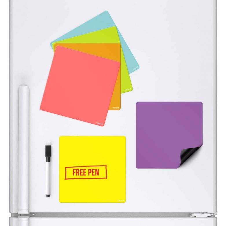 6 Colour Square Magnetic Memo Fridge Boards & Dry Wipe Pen (14.3 X 14.3cm)
