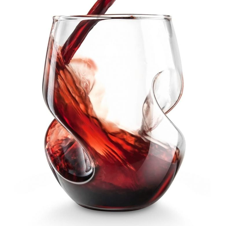 Final Touch Conundrum Glass Aerating Red Wine as It Is Being Filled