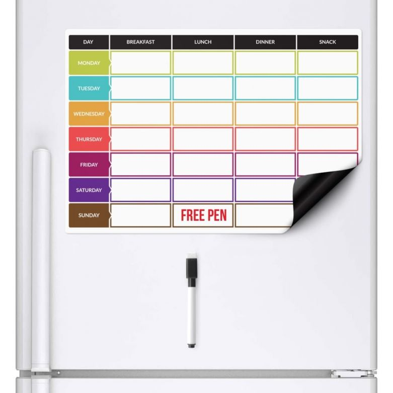 Diet Weekly Meal Planner & Dry Wipe Pen (A3 Magnetic Fridge Board)