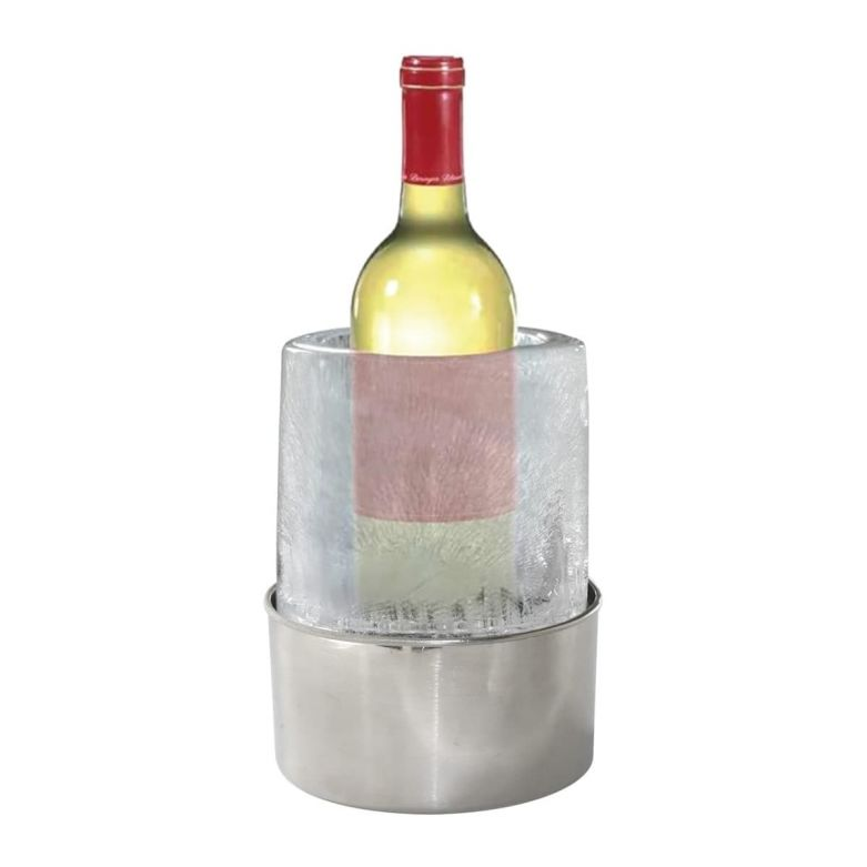 Real Frozen Ice Bucket with a Bottle of White Wine