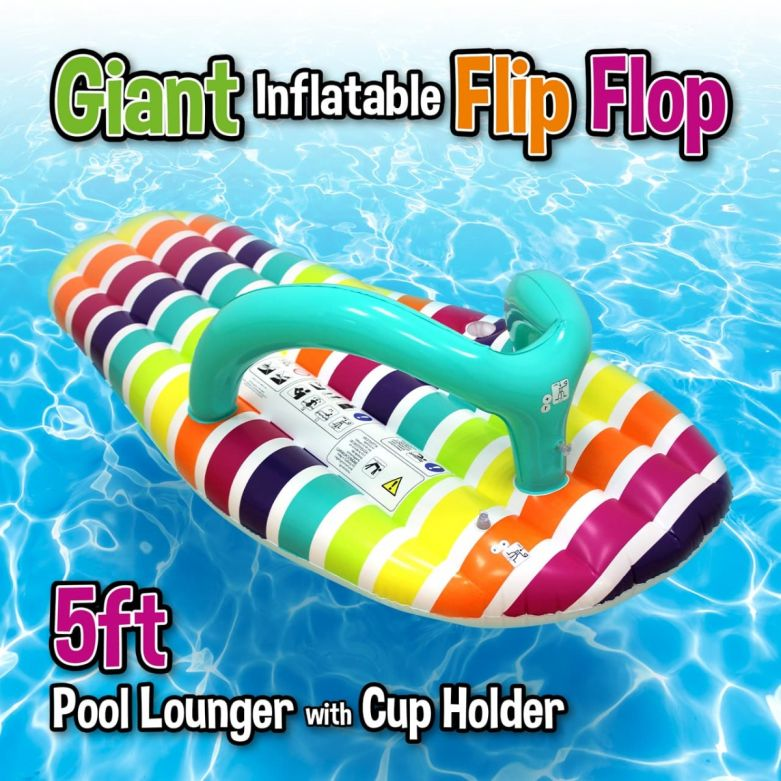 Giant Inflatable Flip Flop Lounger (Stripe) (5ft)