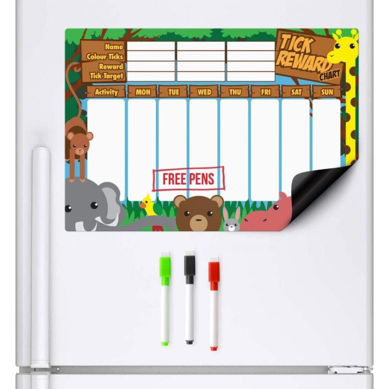 Jungle Animals Reward Chart & Dry Wipe Pens (A3 Magnetic Fridge Board)