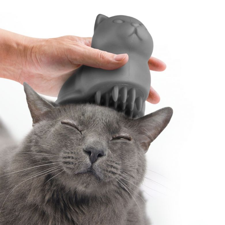 Grey Cat Shaped Meow Pet Grooming/Shedding Brush