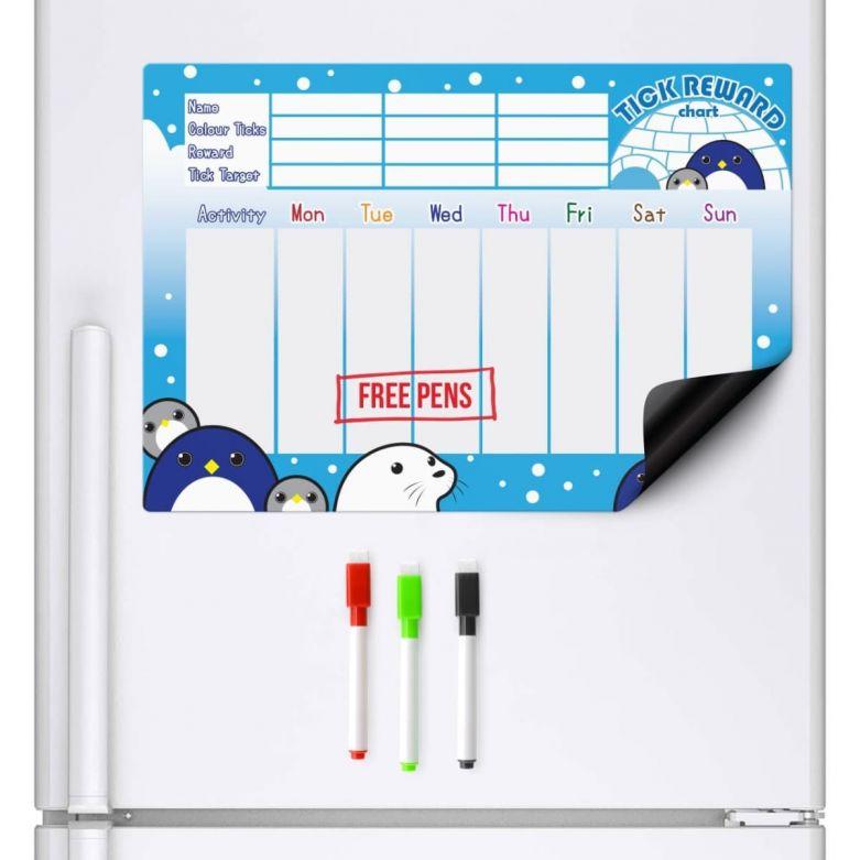 Penguin & Friends Reward Chart & Dry Wipe Pens (A3 Magnetic Fridge Board)