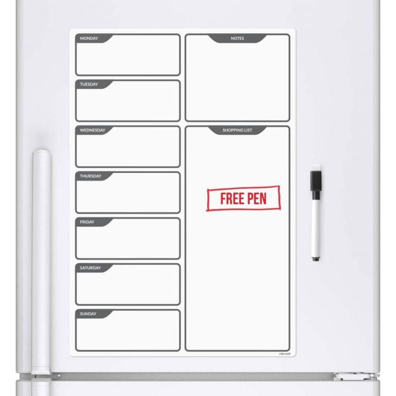 B/W Daily / Weekly Planner & Dry Wipe Pen (A3 Magnetic Fridge Board)