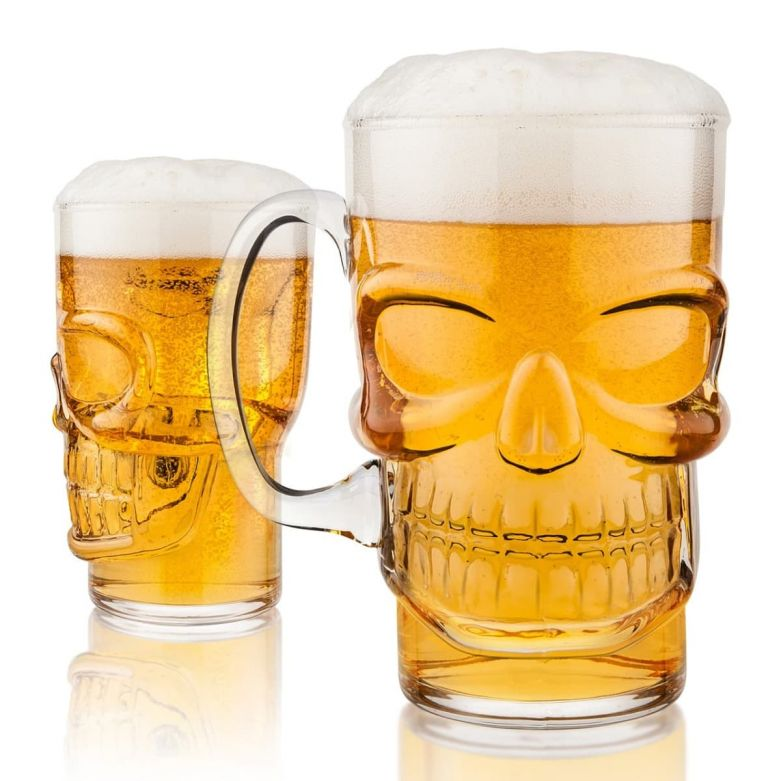 Final Touch Skull Pint Glass Filled with Beer