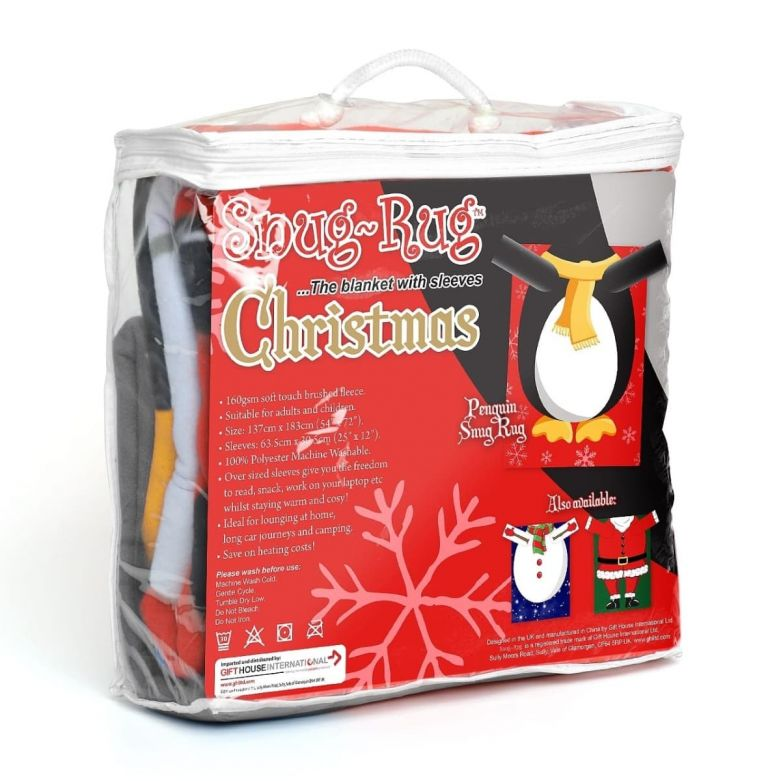 Snug-Rug Christmas Blanket with Sleeves (Penguin)