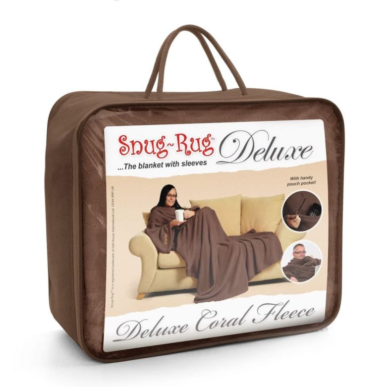 Snug-Rug Deluxe Blanket with Sleeves (Chocolate)