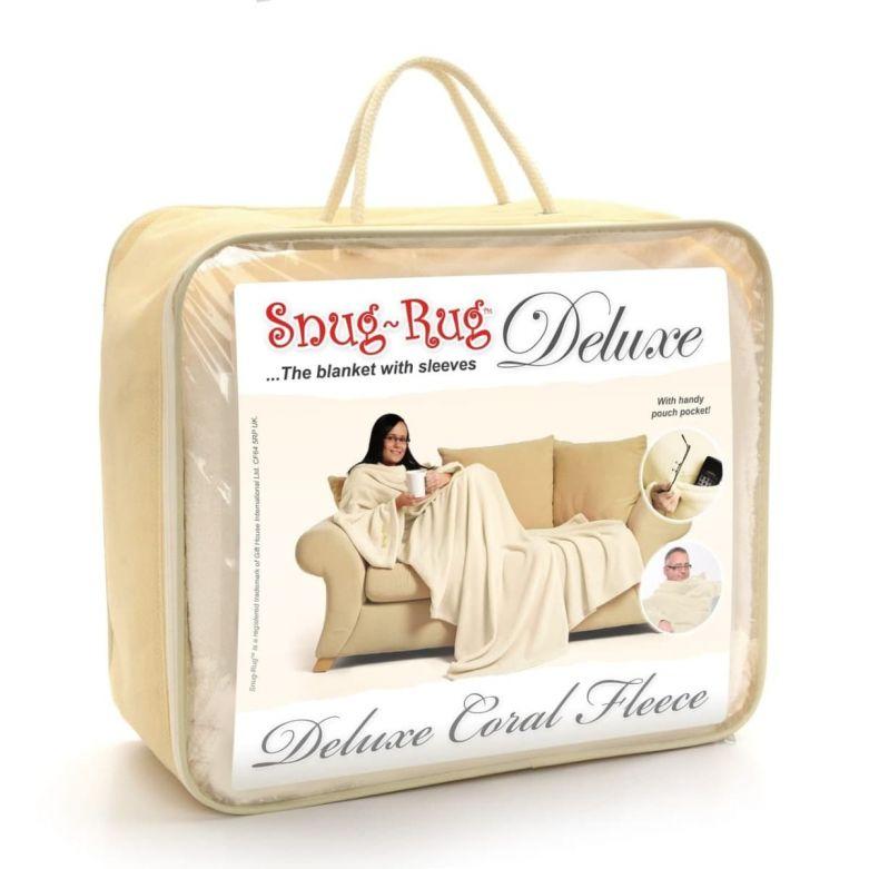 Snug-Rug Deluxe Blanket with Sleeves (Cream)