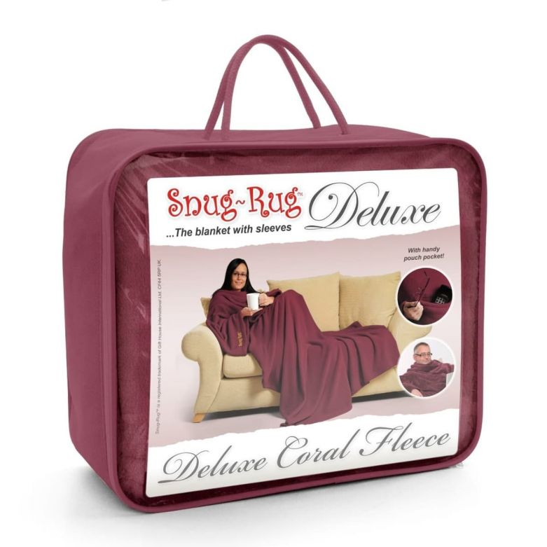 Snug-Rug Deluxe Blanket with Sleeves (Mulberry Red)