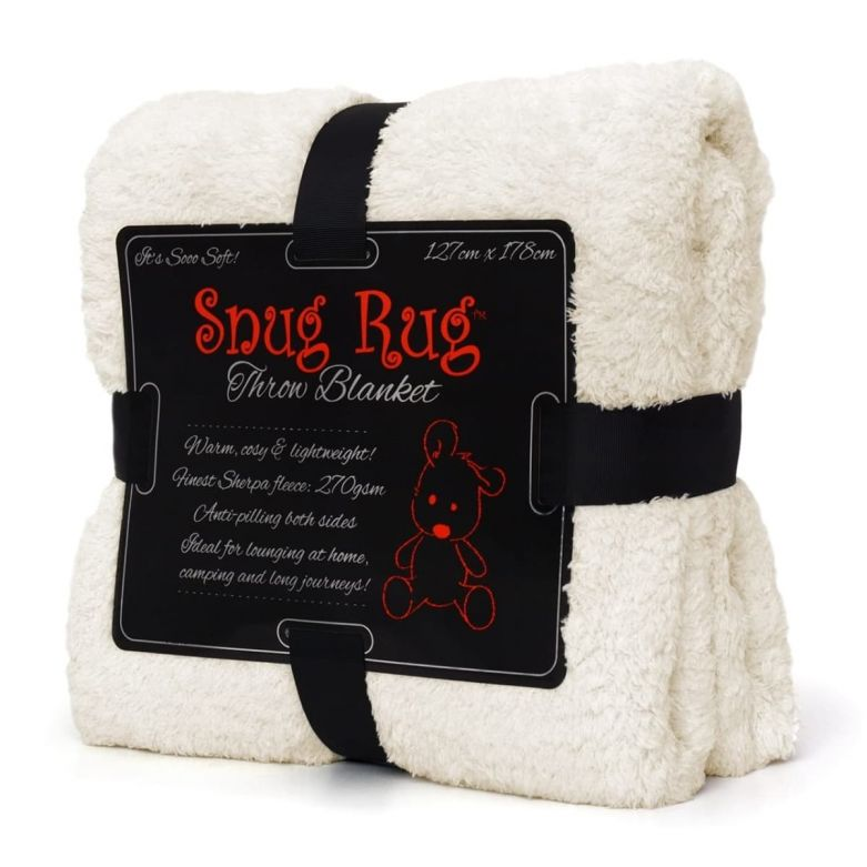 Snug-Rug Sherpa Throw Blanket (Cream)