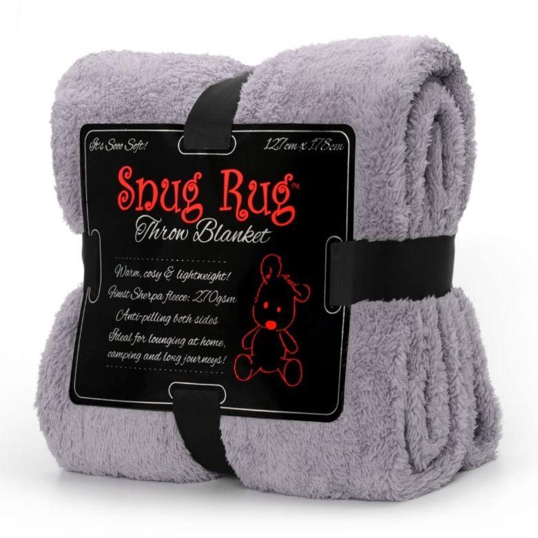 Snug-Rug Sherpa Throw Blanket (Lilac Grey)