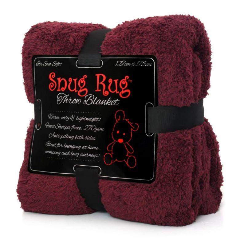 Snug-Rug Sherpa Throw Blanket (Mulberry Red)