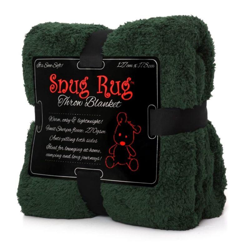 Snug-Rug Sherpa Throw Blanket (Racing Green)