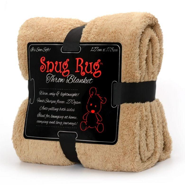 Snug-Rug Sherpa Throw Blanket (Sand Beige)