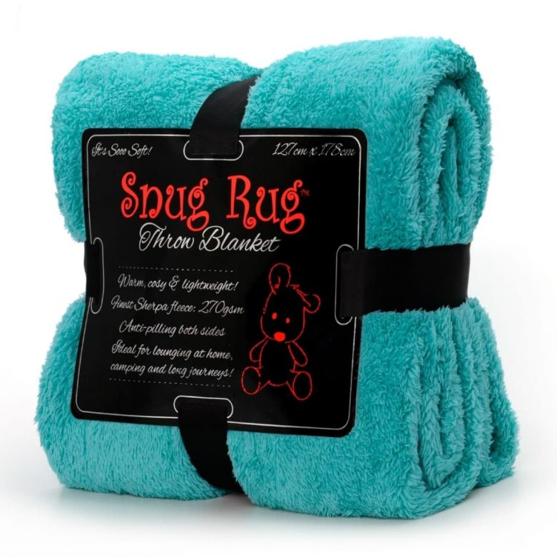 Snug-Rug Sherpa Throw Blanket (Teal)