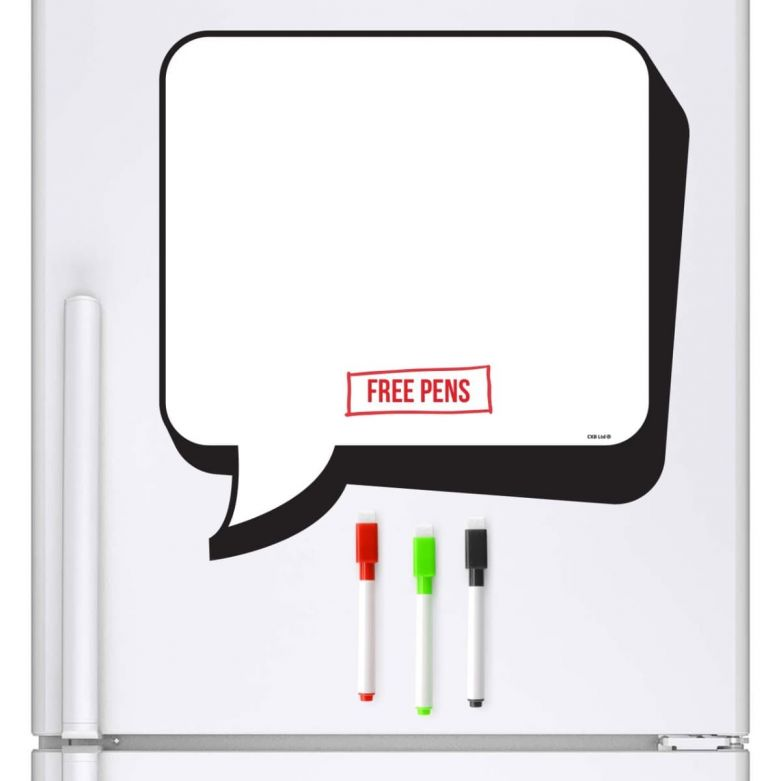 Cartoon Speech Bubble Whiteboard & Dry Wipe Pens (Magnetic Fridge Board)