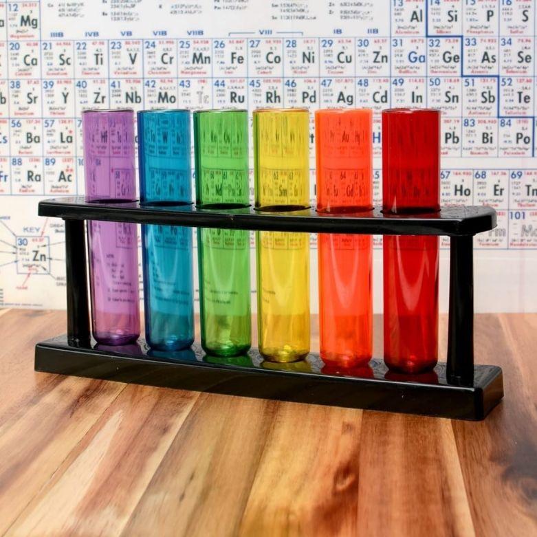 Rack of 6 Bar Amigos Colour Test Tube Shot Plastic Glasses/Vessels
