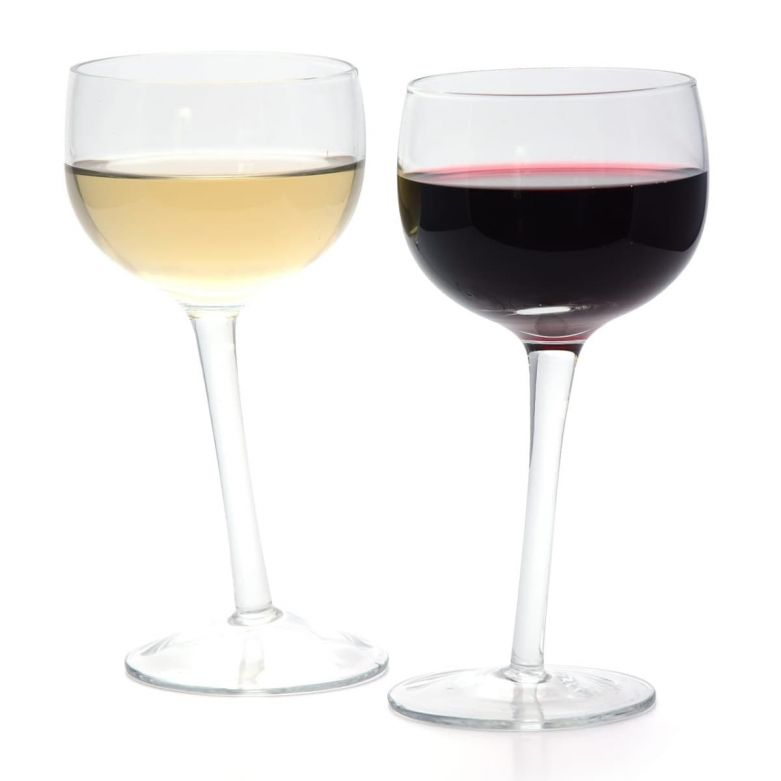 Set of 2 Bar Bespoke Tipsy Wine Glasses Filled with Red & White Wine