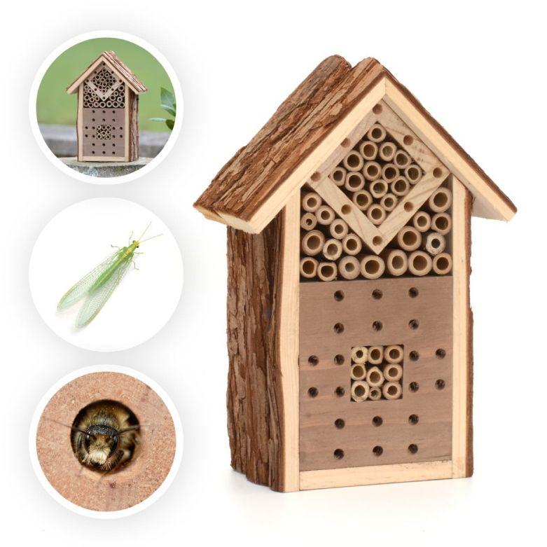 Small Natural Wood Bark Insect Bug Bee Hotel