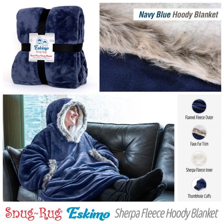 Snug-Rug Eskimo Hoody Blanket (Navy Blue)
