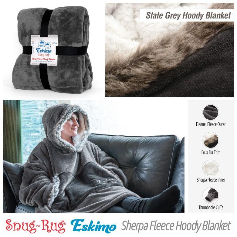 Snug-Rug Eskimo Hoody Blanket (Slate Grey)