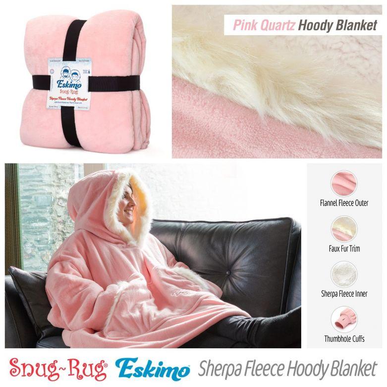 Snug-Rug Eskimo Hoody Blanket (Pink Quartz)