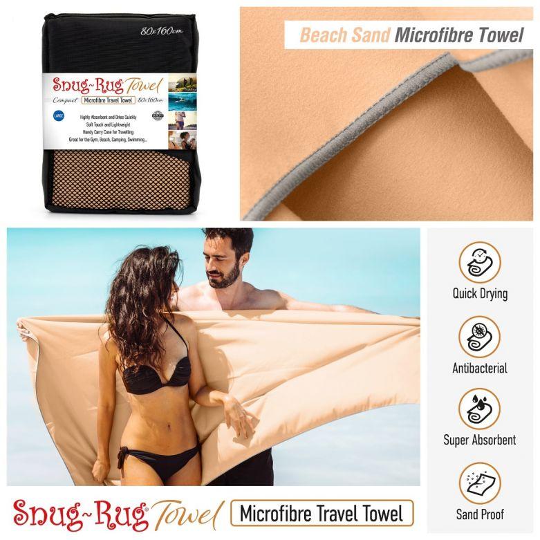 Snug-Rug Microfibre Towel (Large) (Beach Sand Beige)