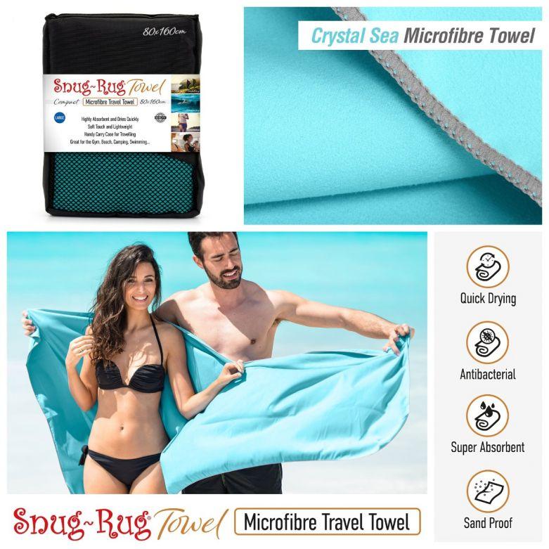 Snug-Rug Microfibre Towel (Large) (Crystal Sea Blue)