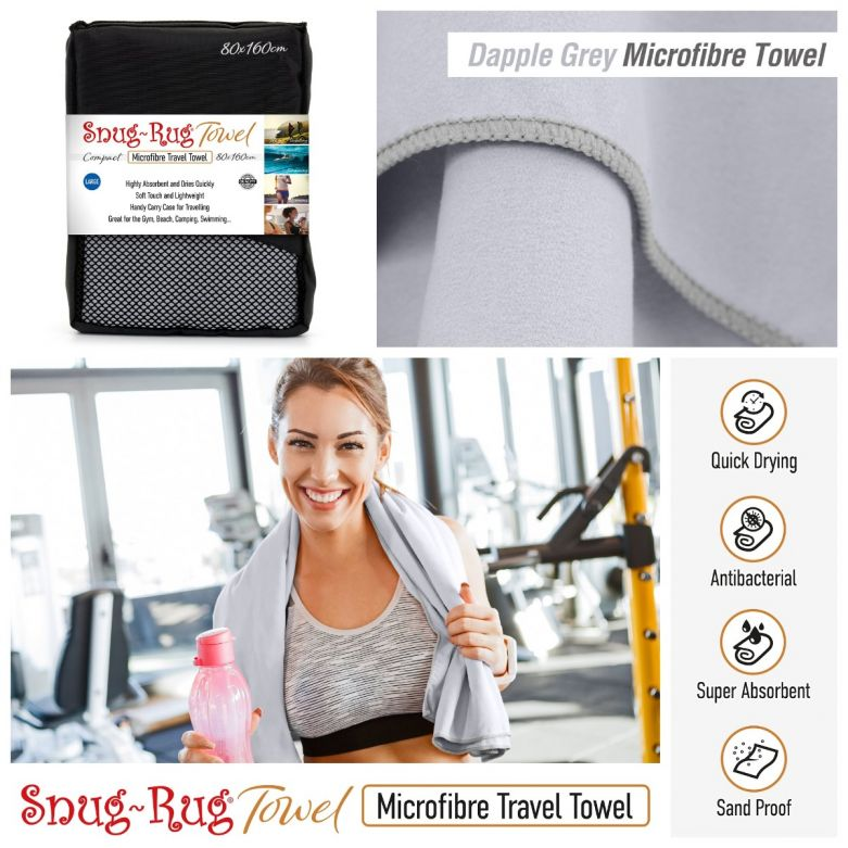 Snug-Rug Microfibre Towel (Large) (Dapple Grey)