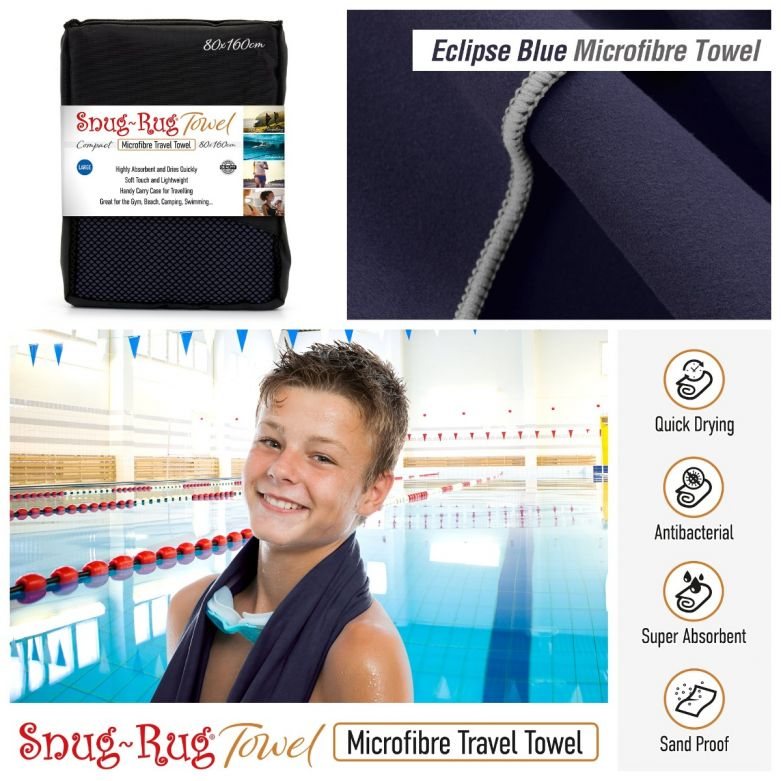 Snug-Rug Microfibre Towel (Large) (Eclipse Blue)