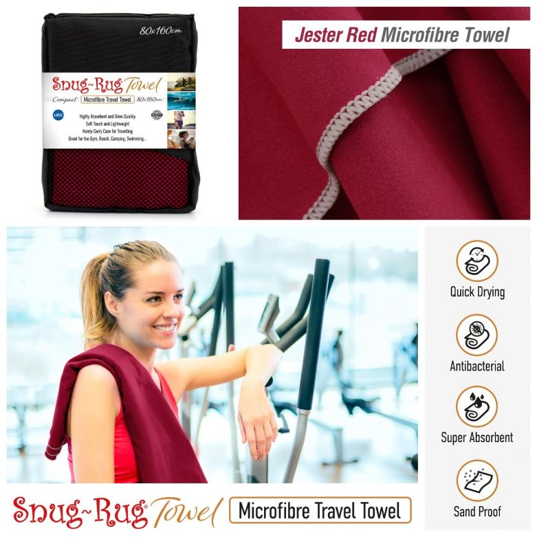 Snug-Rug Microfibre Towel (Large) (Jester Red)