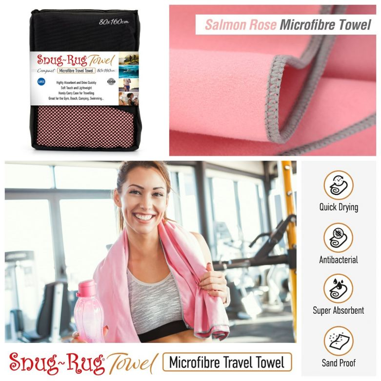 Snug-Rug Microfibre Towel (Large) (Salmon Rose Pink)