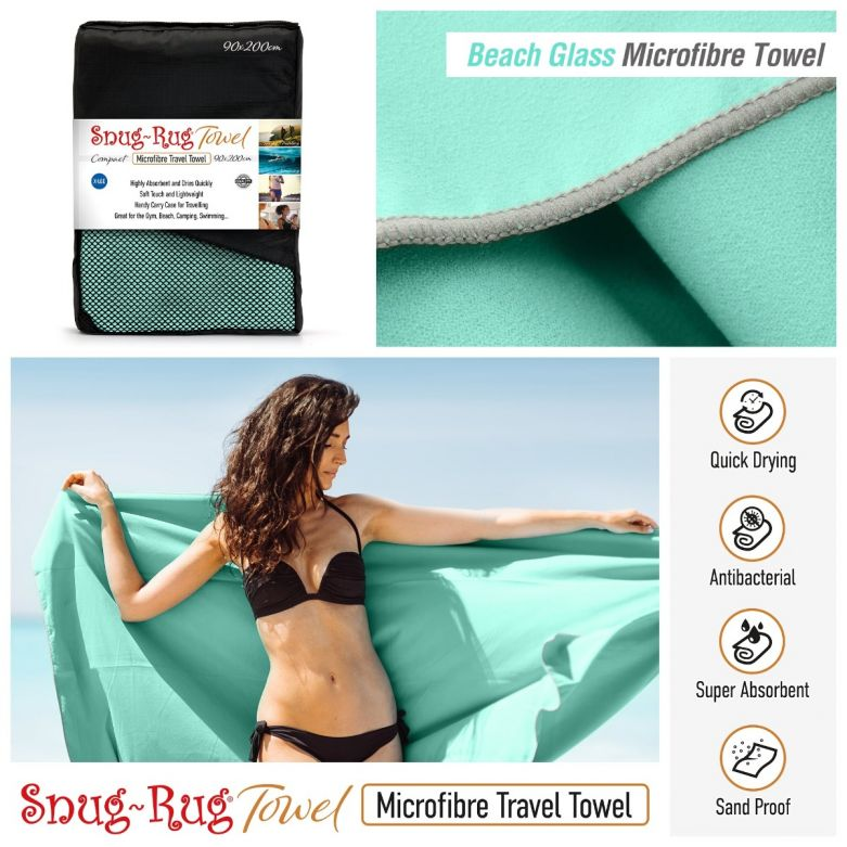 Snug-Rug Microfibre Towel (X-Large) (Beach Glass Turquoise)