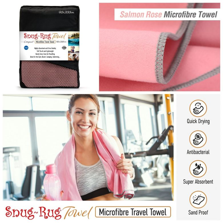 Snug-Rug Microfibre Towel (X-Large) (Salmon Rose Pink)
