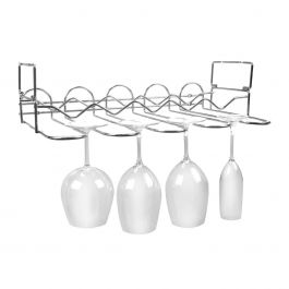 Chrome Metal Under Cabinet / Wall Mounted Bottle & Glass Rack